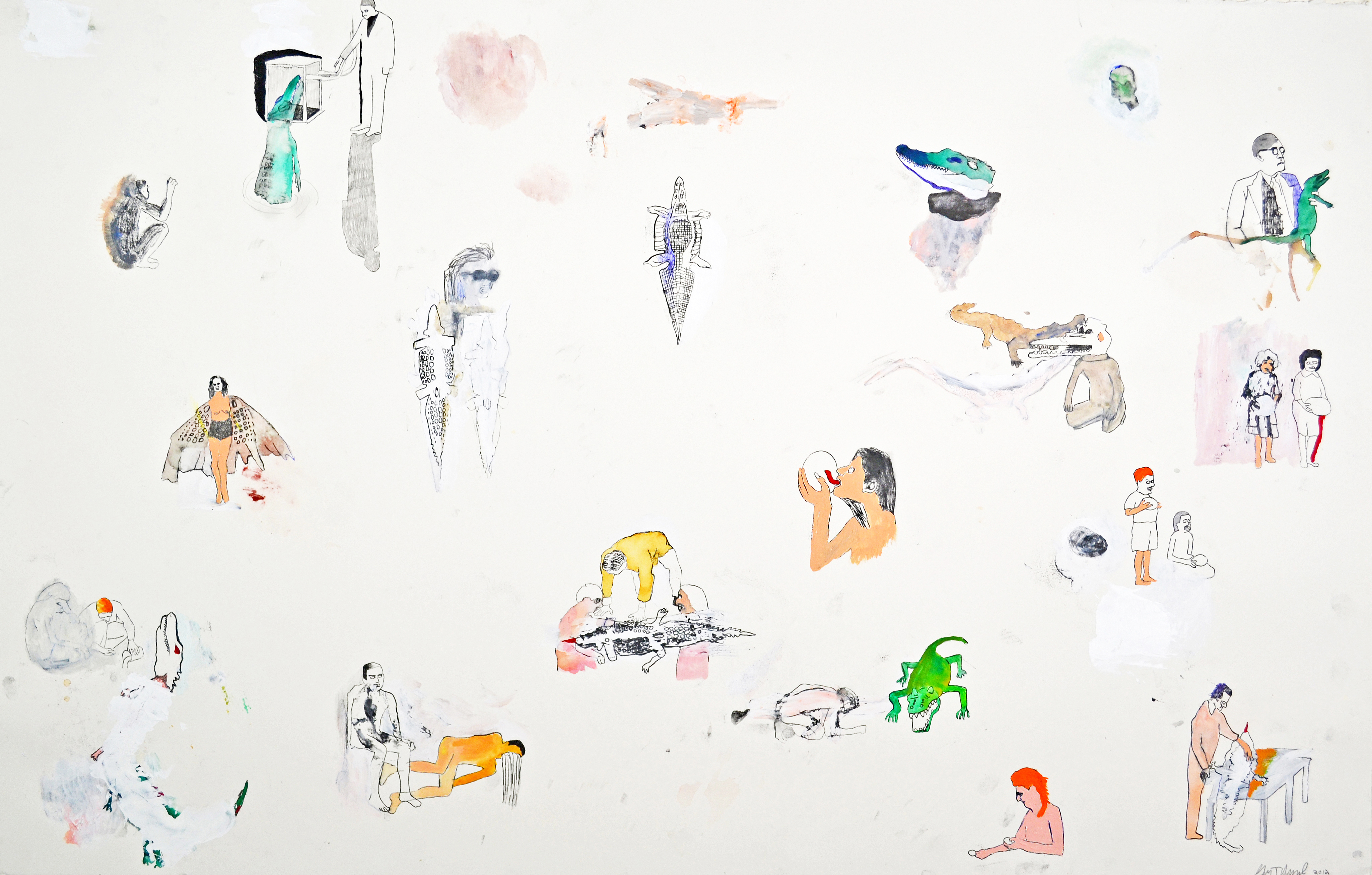 "Water Color, Gouache, Colored Pencil on Paper. 48"" x 26"" 2012. SOLD"